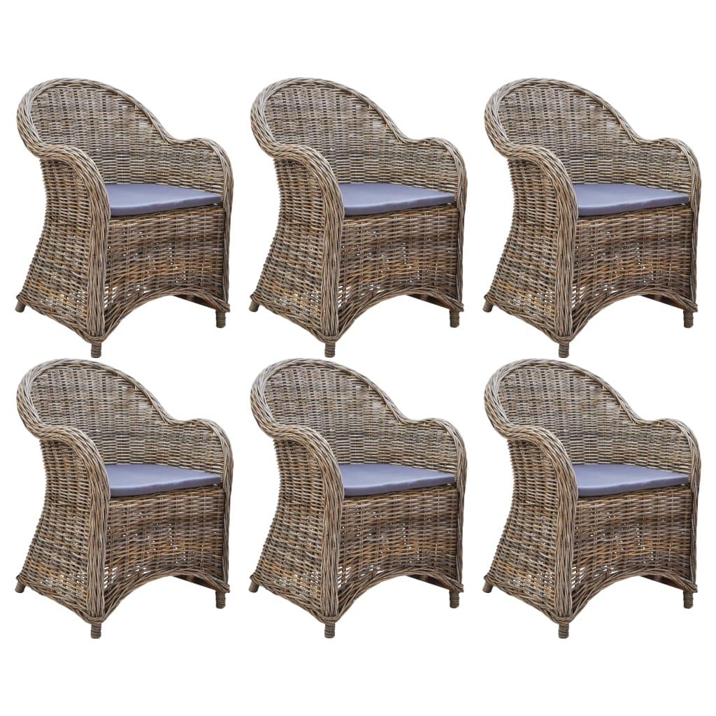 vidaXL Krzesła ogrodowe z poduszkami, 6 szt., naturalny rattan