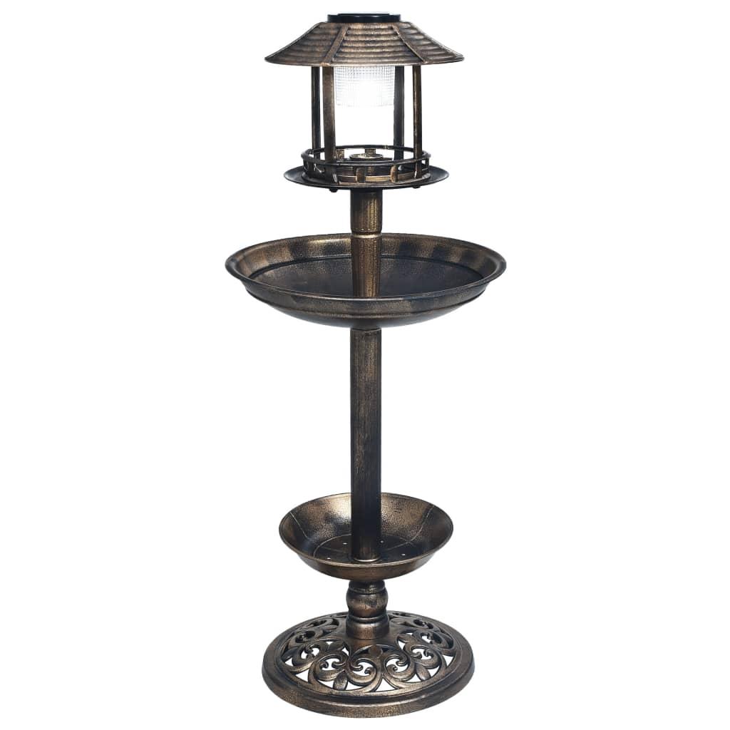 vidaXL Baie pentru păsări decorativă, cu LED alimentat solar, plastic poza vidaxl.ro