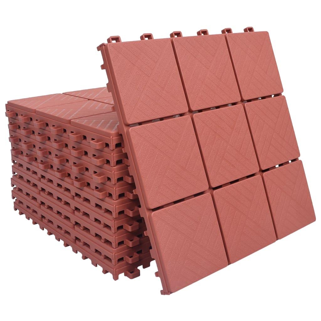 Terasové dlaždice 10 ks červené 30,5 x 30,5 cm plast