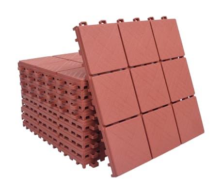 vidaXL Decking Tiles 10 pcs Red 30.5x30.5 cm Plastic