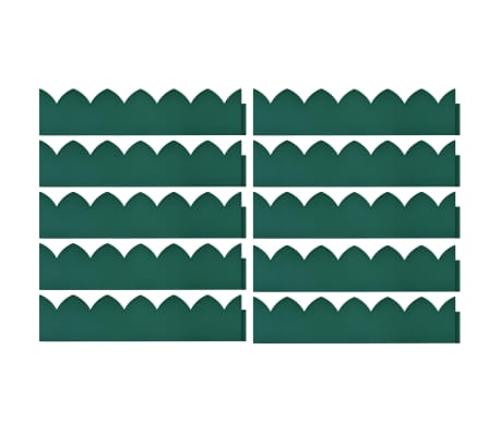 vidaXL Rabattkant 10 st grön 65x15 cm PP