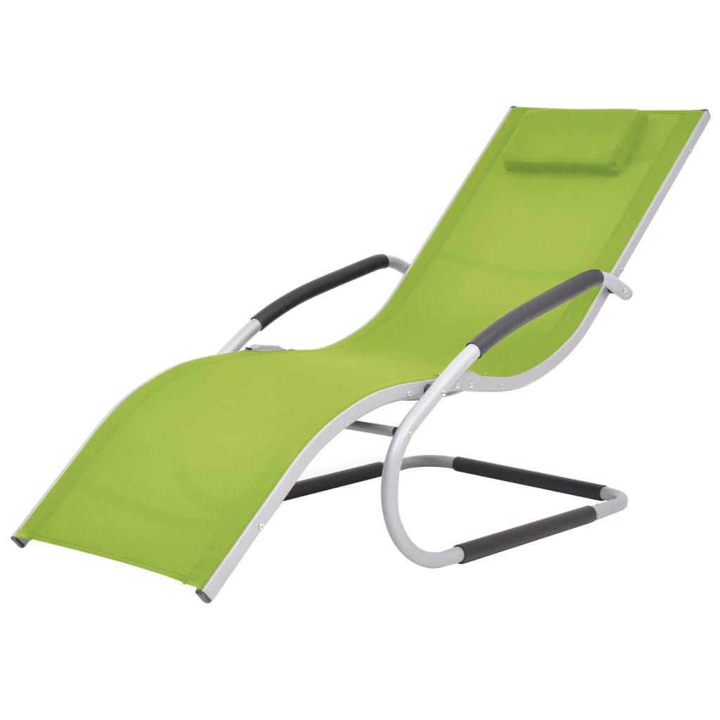 vidaXL Ξαπλώστρα Πράσινη από Αλουμίνιο / Textilene με Μαξιλάρι