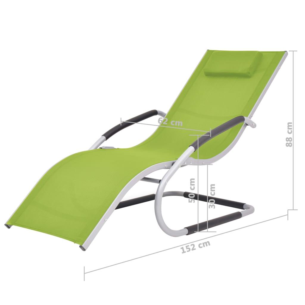 vidaXL Ligbed met kussen aluminium en textileen groen