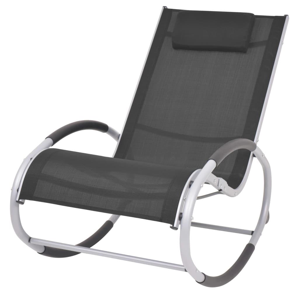 vidaXL Scaun balansoar de exterior, negru, textilenă poza 2021 vidaXL