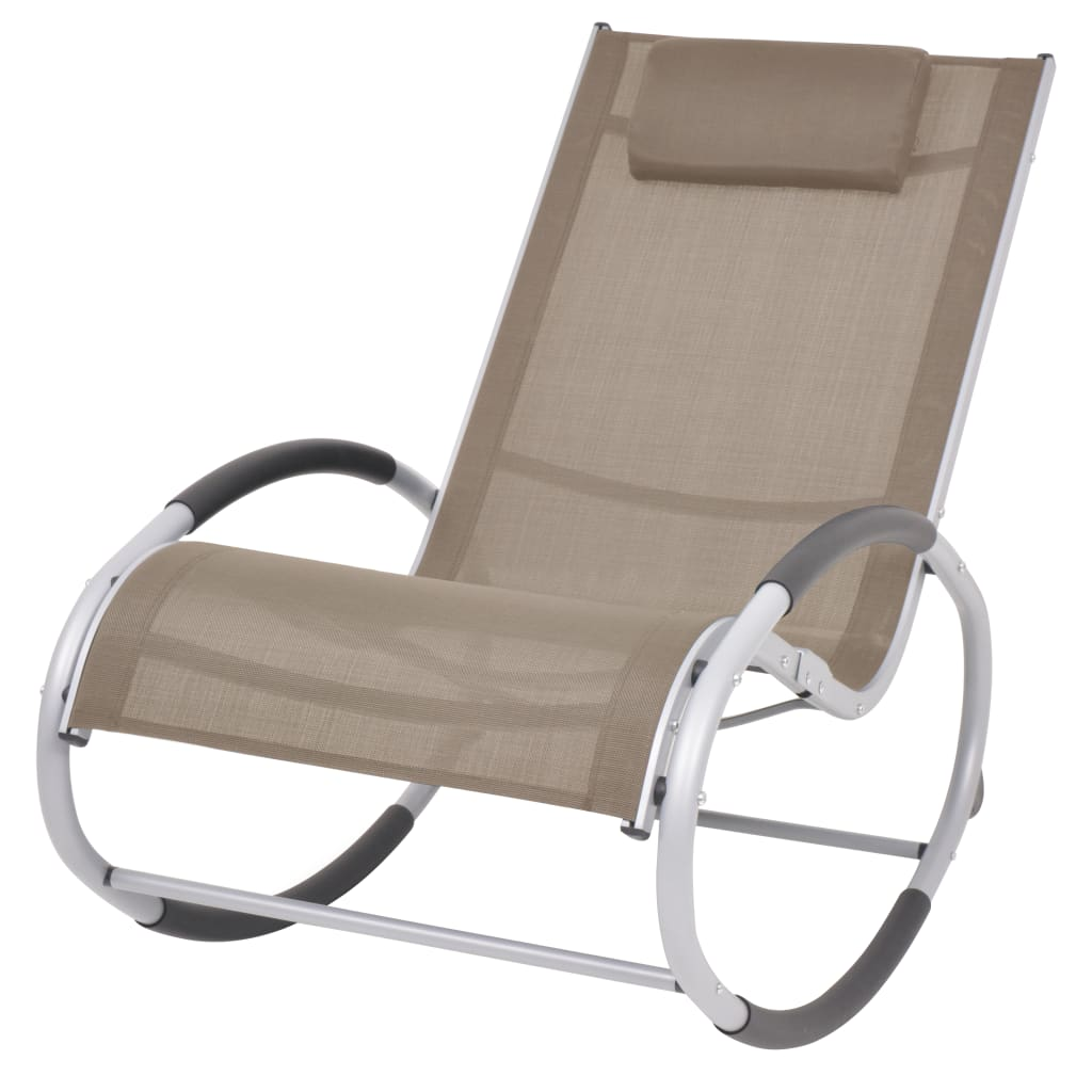 vidaXL Scaun balansoar de exterior, gri taupe, textilenă poza 2021 vidaXL