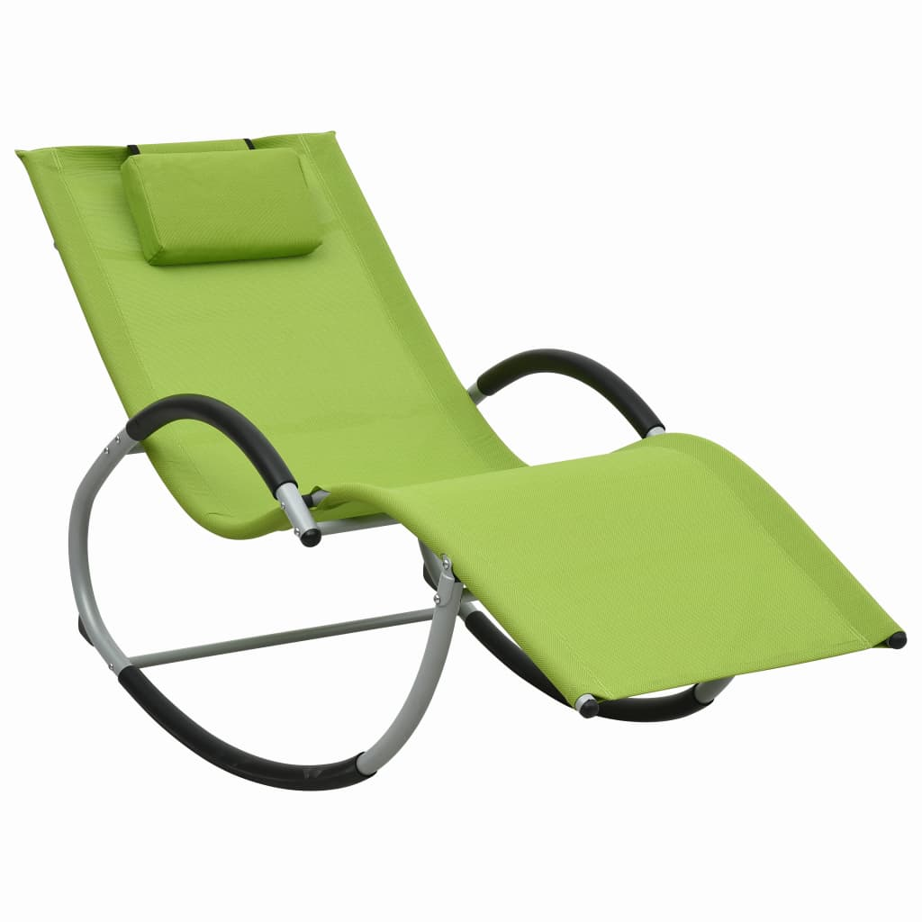 vidaXL Ξαπλώστρα Πράσινη από Textilene με Μαξιλάρι