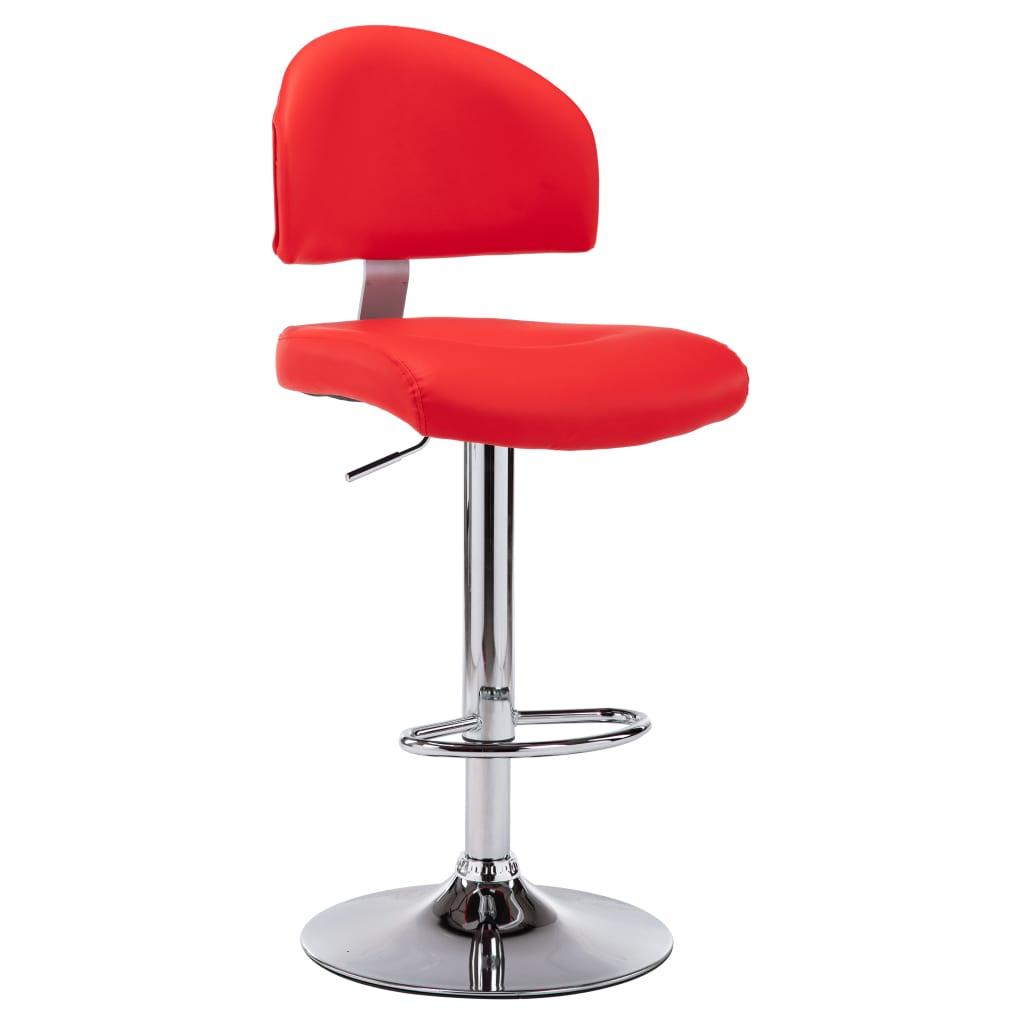 <ul><li>Farbe: Rot</li><li>Material: Kunstleder-Polsterung & verchromter Stahlrahmen</li><li>Gesamtmaße: 43 x 47 x (98 -119) cm (B x T x H)</li><li>Standfuß-Durchmesser: 41 cm</li><li>Mit Fußablage</li><li>Mit Gasdruckfeder</li><li>Um 360 Grad drehbar</li><li>Die Lieferung umfasst 1 Barhocker</li><li>Material: Baumwolle: 15%, Polyester: 25%, Polyurethan: 30%, PVC: 30%</li></ul>