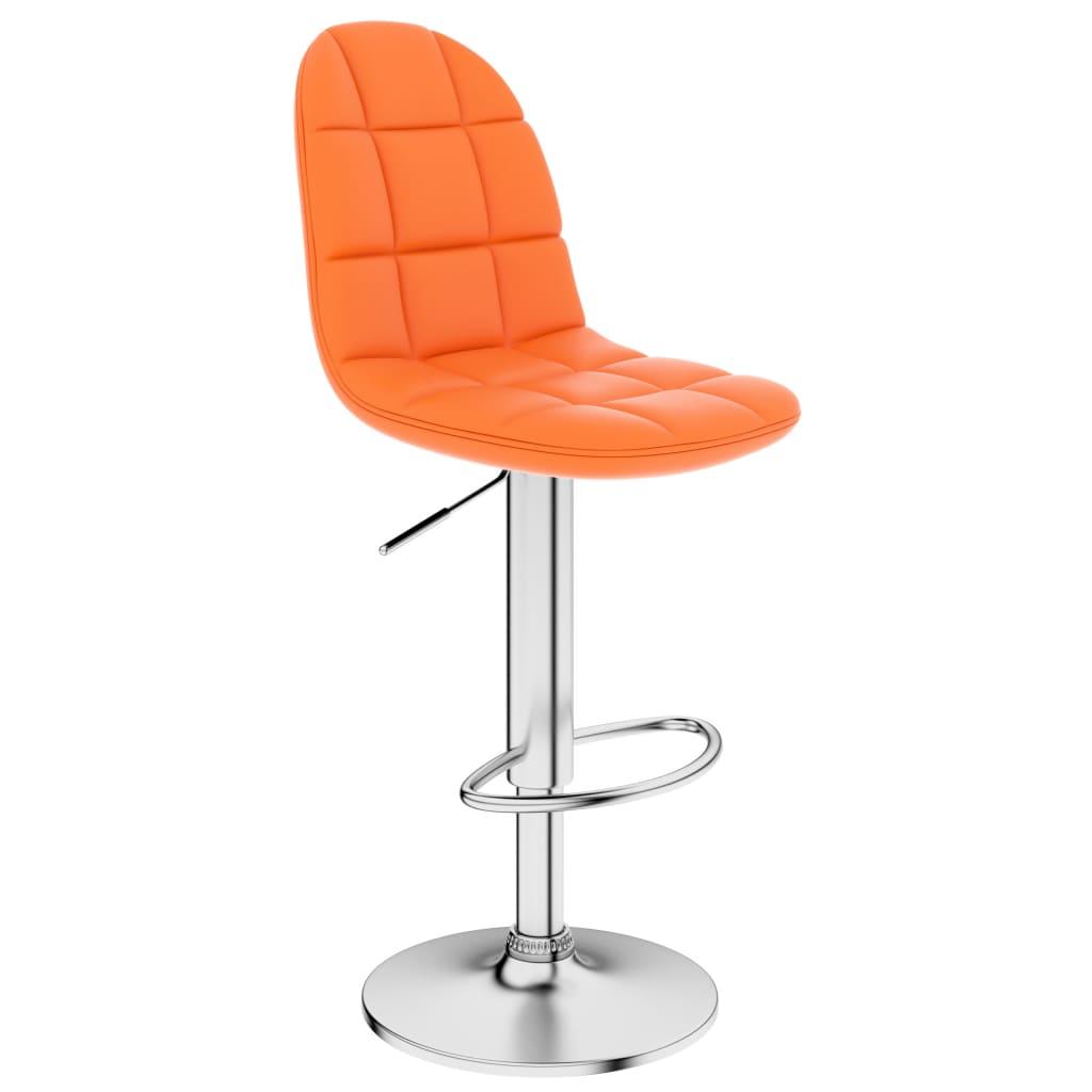 Barová stolička oranžová umělá kůže