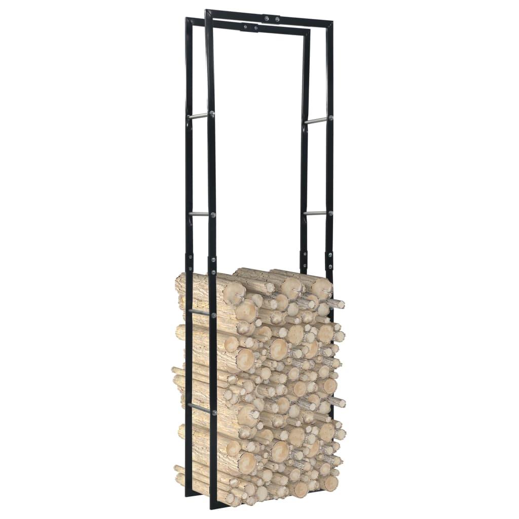 vidaXL Rastel pentru lemne de foc, negru, 60x25x200 cm, oțel imagine vidaxl.ro