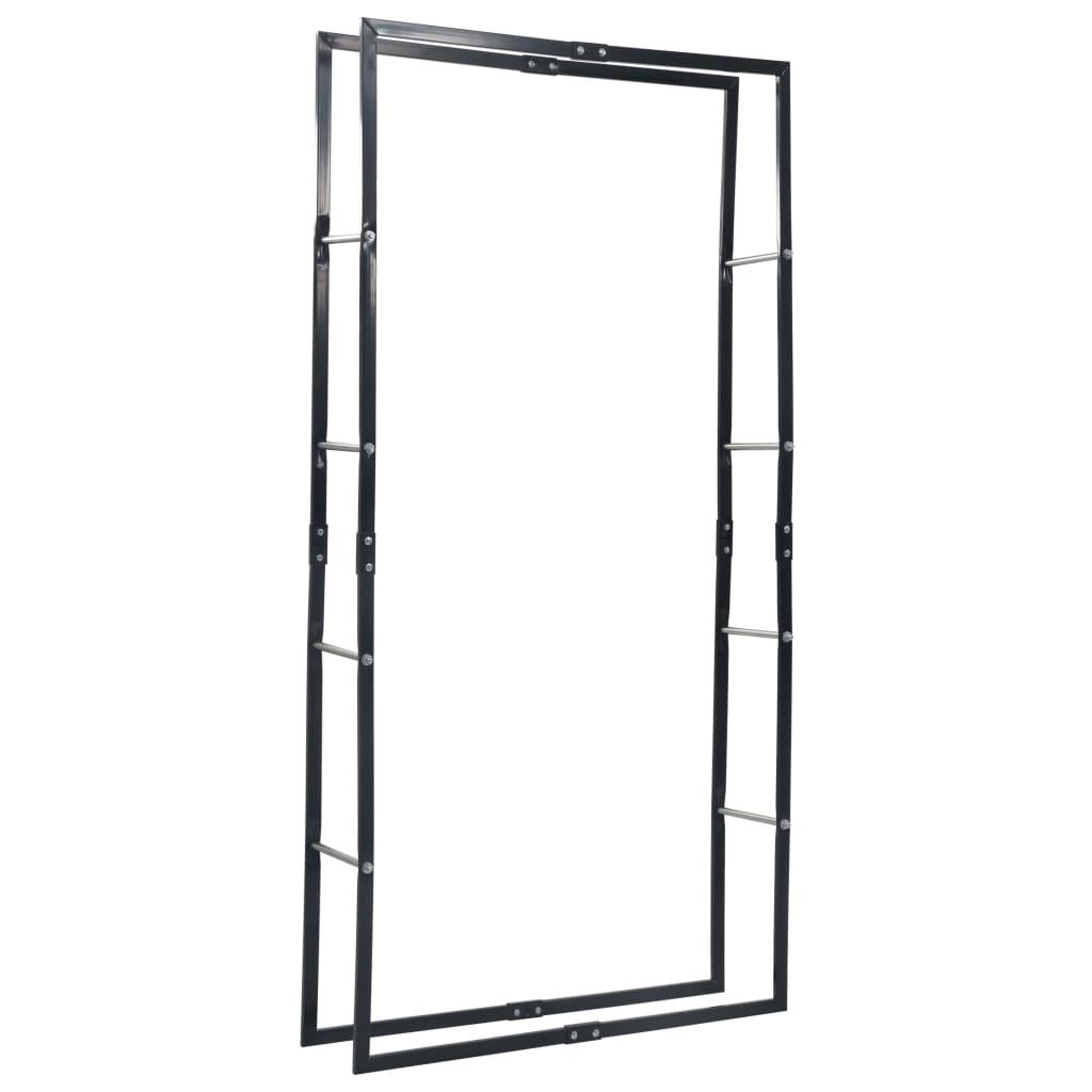 vidaXL Haardhoutrek 100x25x200 cm staal zwart
