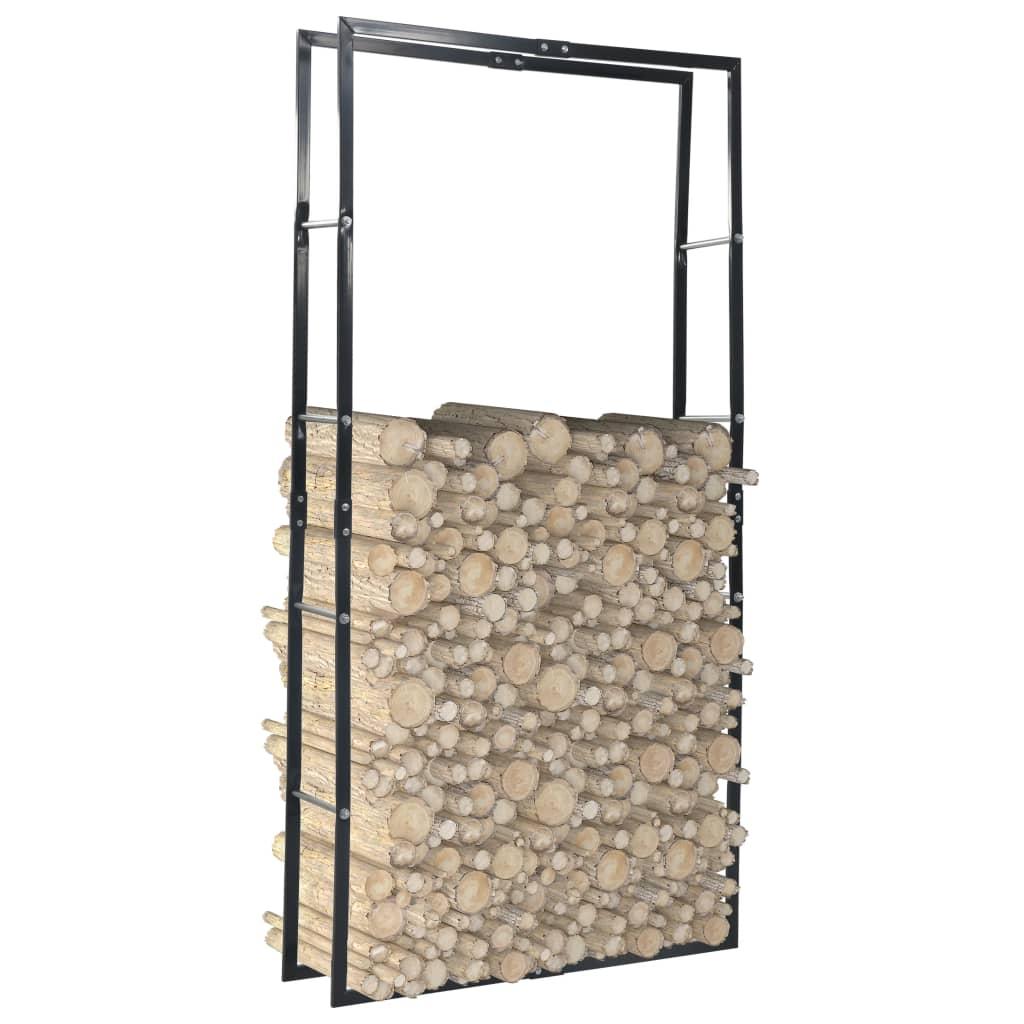 vidaXL Rastel pentru lemne de foc, negru, 100x25x200 cm, oțel imagine vidaxl.ro