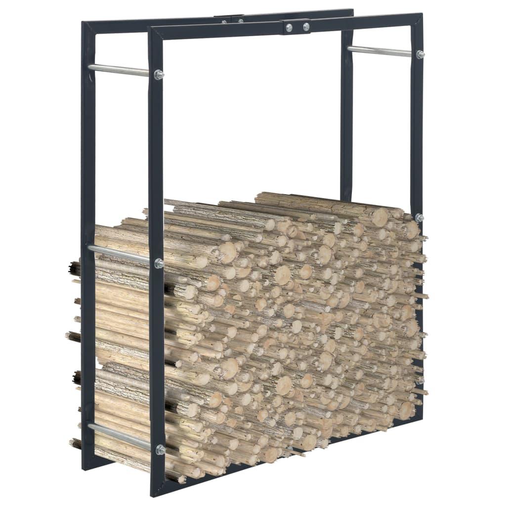 vidaXL Rastel pentru lemne de foc, negru, 80x25x100 cm, oțel imagine vidaxl.ro