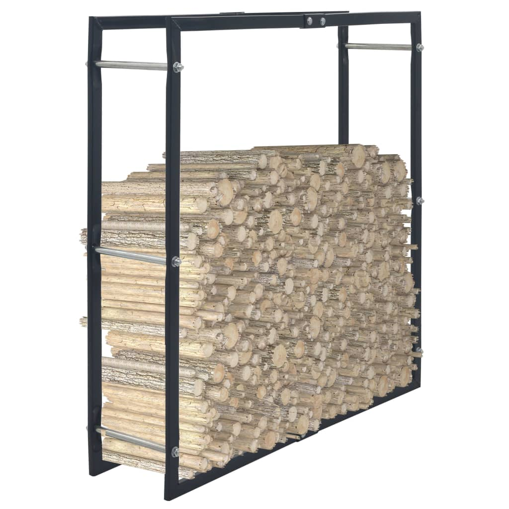 vidaXL Rastel pentru lemne de foc, negru, 100x25x100 cm, oțel imagine vidaxl.ro