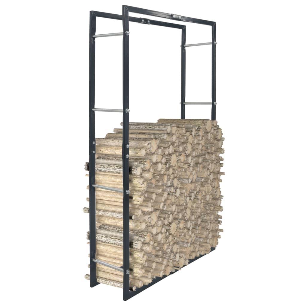 vidaXL Rastel pentru lemne de foc, negru, 80x25x150 cm, oțel imagine vidaxl.ro
