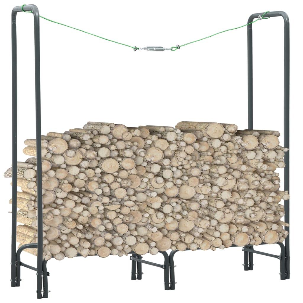 vidaXL Rastel pentru lemne de foc, antracit, 120x35x120 cm, oțel imagine vidaxl.ro