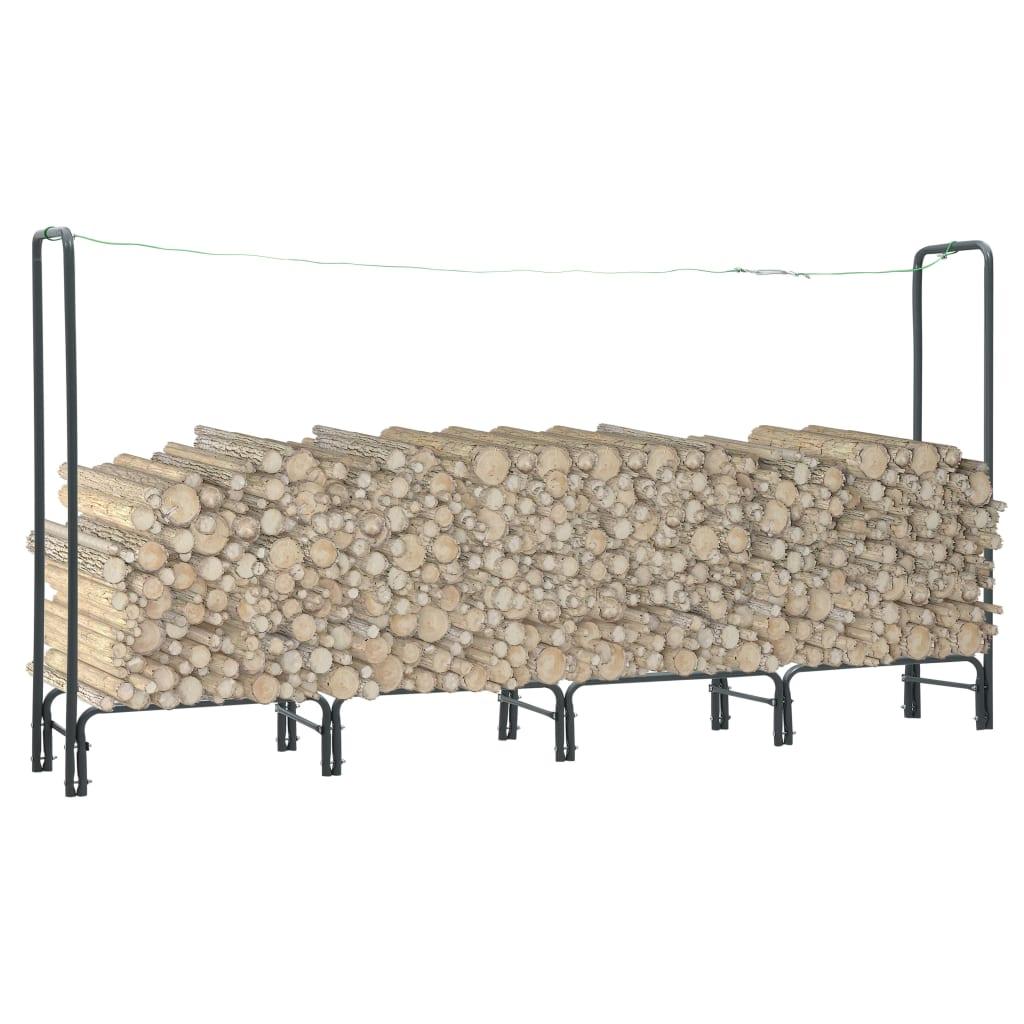 vidaXL Rastel pentru lemne de foc, antracit, 240x35x120 cm, oțel imagine vidaxl.ro