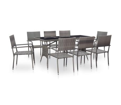 vidaXL 9 Piece Outdoor Dining Set Poly Rattan Grey