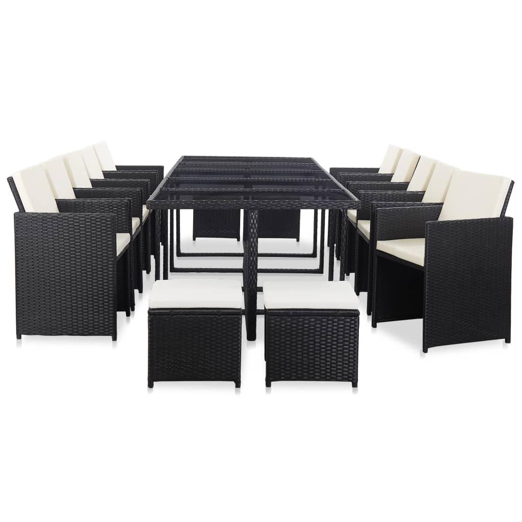 vidaXL Set mobilier de exterior cu perne, 15 piese, negru, poliratan poza vidaxl.ro