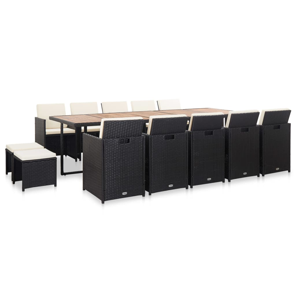 vidaXL Set mobilier de exterior cu perne, 15 piese, negru, poliratan imagine vidaxl.ro