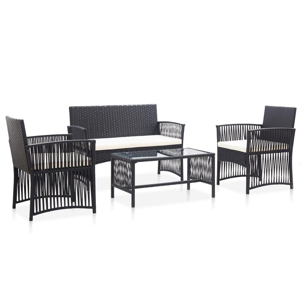vidaXL Set mobilier de grădină cu perne, 4 piese, negru, poliratan poza 2021 vidaXL
