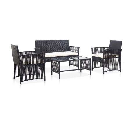 vidaXL 4 Piece Garden Lounge Set with Cushion Poly Rattan Black