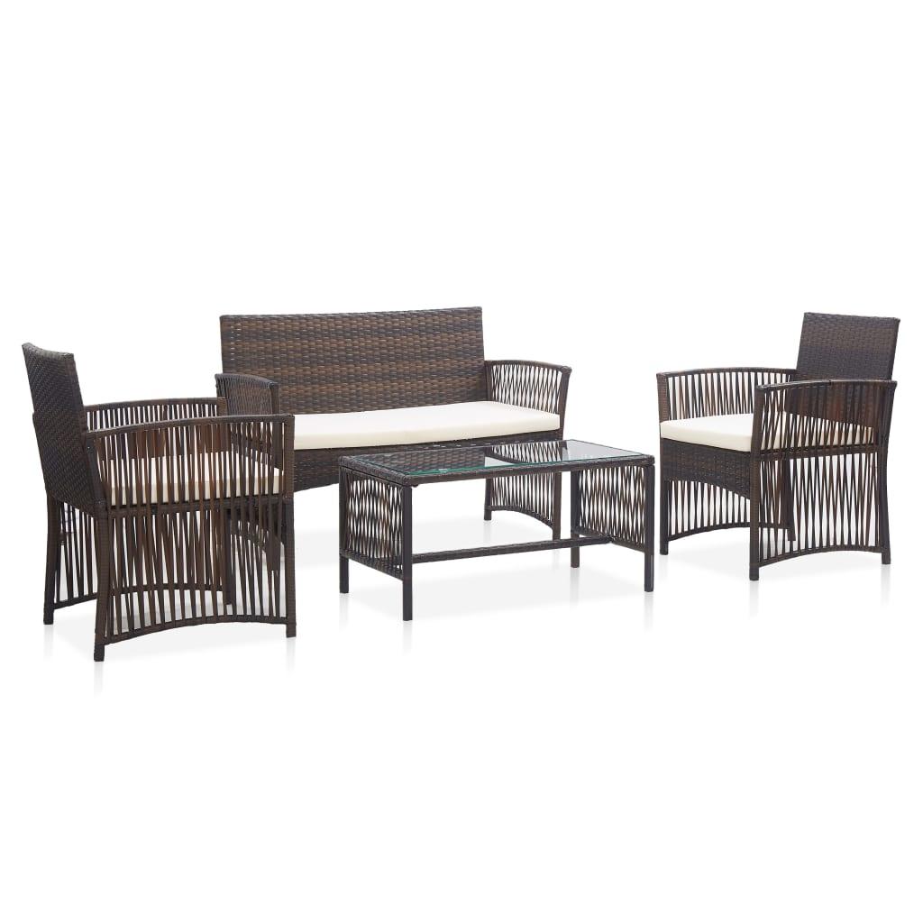 vidaXL Set mobilier de grădină cu perne, 4 piese, maro, poliratan poza 2021 vidaXL