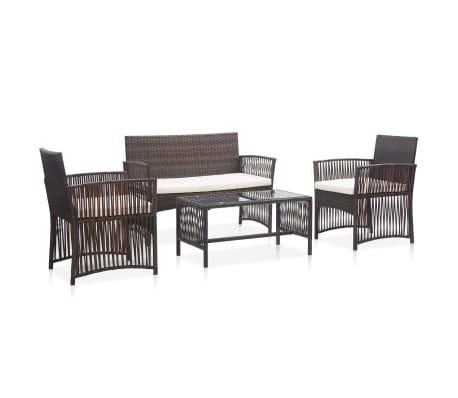 vidaXL 4 Piece Garden Lounge Set with Cushion Poly Rattan Brown