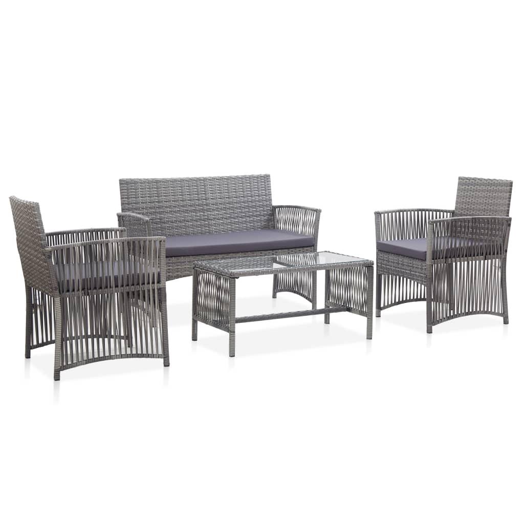 vidaXL Set mobilier de grădină cu perne, 4 piese, antracit, poliratan imagine vidaxl.ro