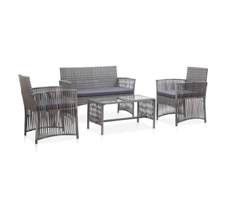 vidaXL 4 Piece Garden Lounge Set with Cushion Poly Rattan Anthracite