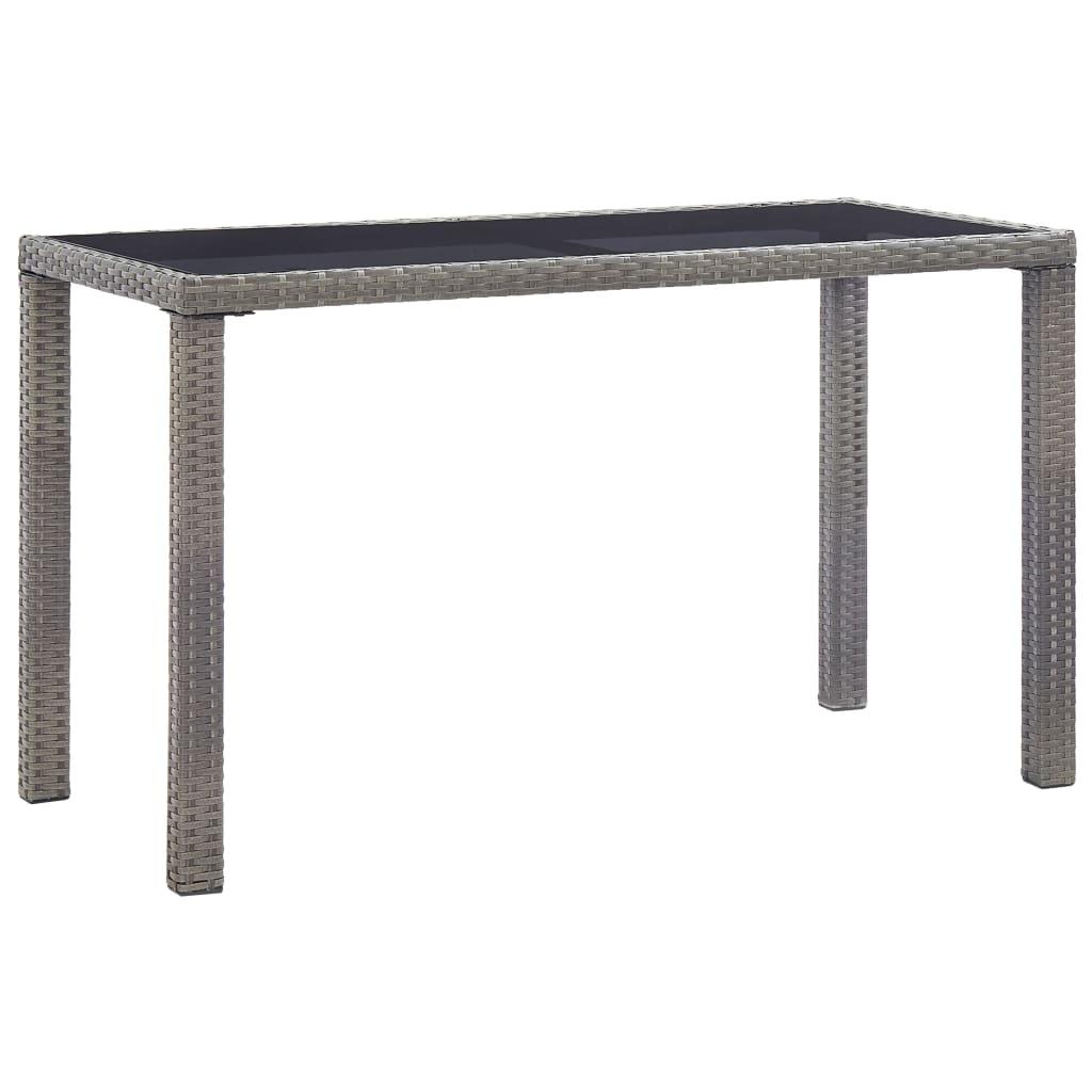 vidaXL Stół ogrodowy, antracytowy, 123x60x74 cm, polirattan