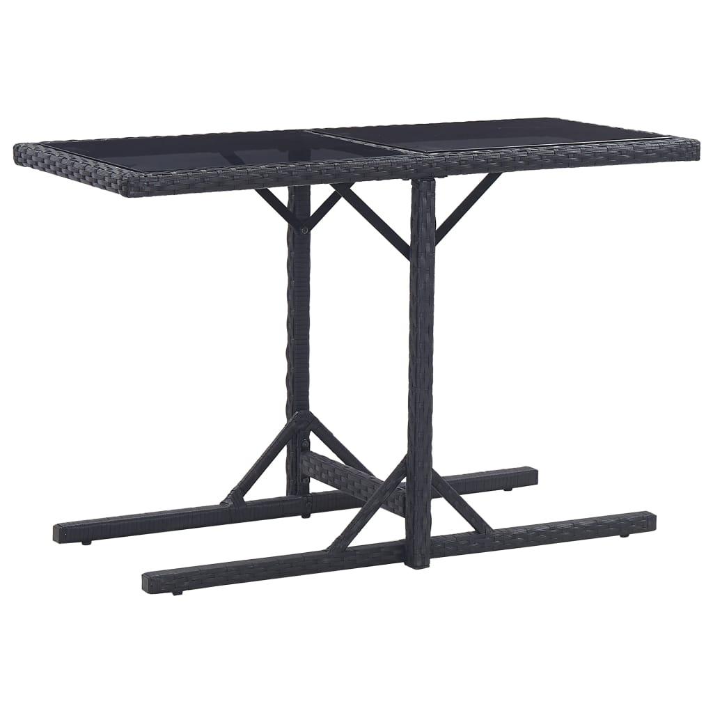 Zahradní stůl černý 110 x 53 x 72 cm sklo a polyratan
