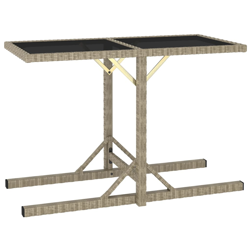 vidaXL Stół ogrodowy, beżowy, 110 x 53 x 72 cm, szkło i polirattan