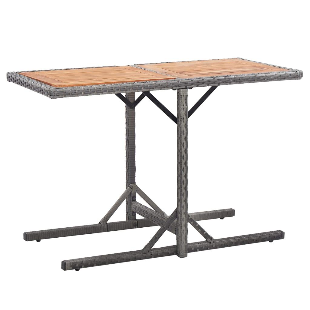 vidaXL Stół ogrodowy, antracytowy, rattan PE i lite drewno akacjowe
