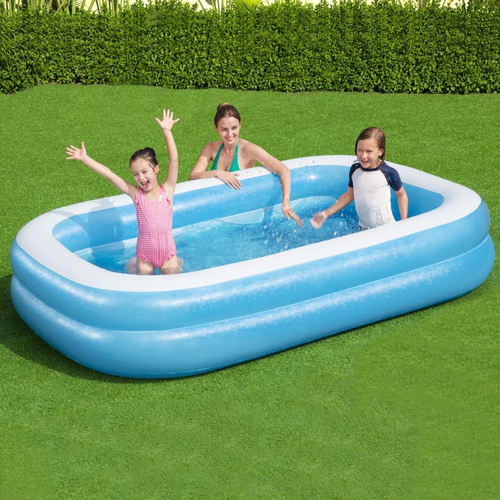Bestway Family kék/fehér négyszögletes felfújható medence 262x175x51cm