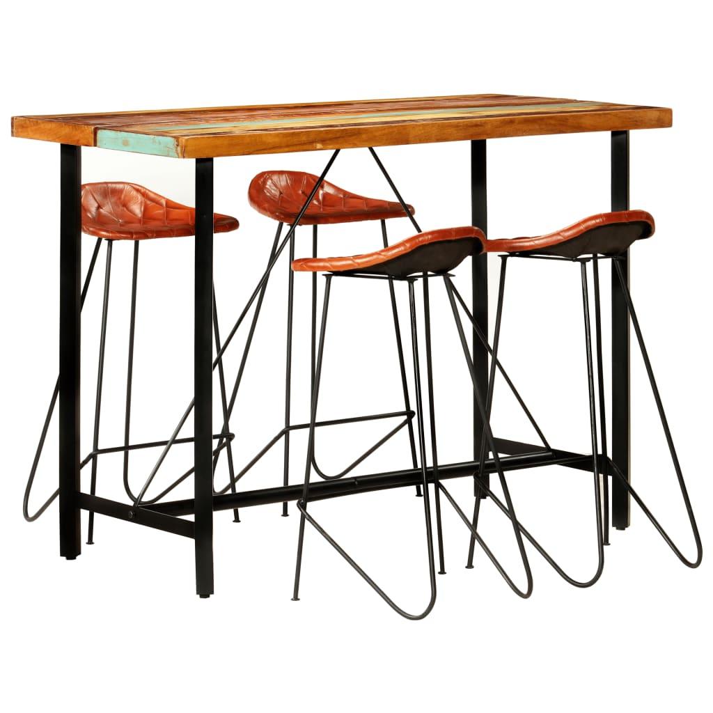 vidaXL Set mobilier de bar, 5 piese, lemn reciclat și piele naturală vidaxl.ro