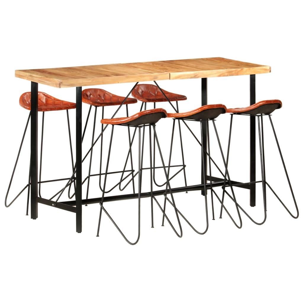 vidaXL Set mobilier bar 7 piese lemn masiv sheesham & piele naturală vidaxl.ro