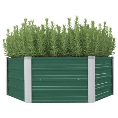 vidaXL Plantenbak verhoogd 129x129x46 cm gegalvaniseerd staal groen[1/6]