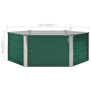 vidaXL Plantenbak verhoogd 129x129x46 cm gegalvaniseerd staal groen[6/6]