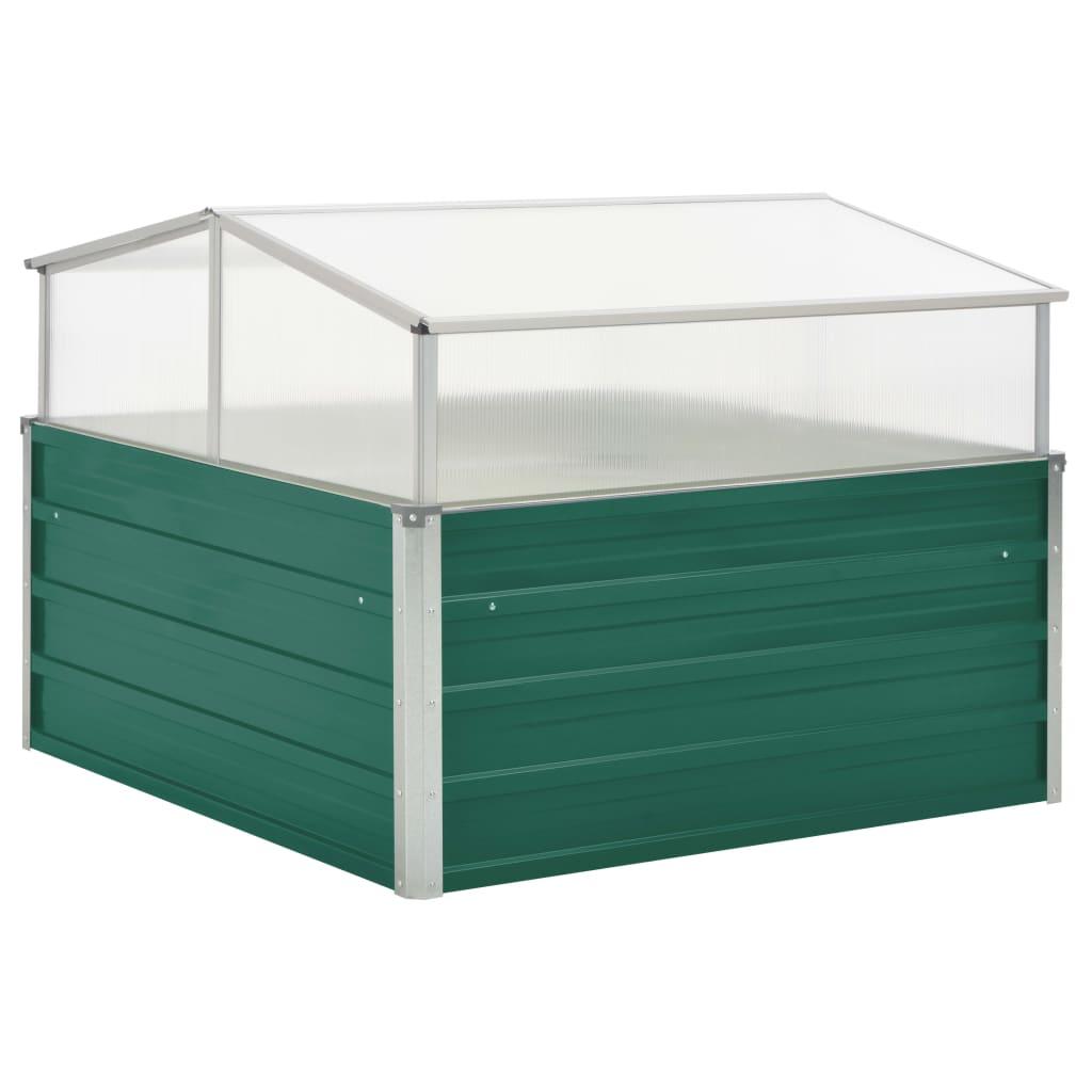 vidaXL Θερμοκήπιο Σπορείο Πράσινο 100x100x77 εκ. Γαλβανισμένος Χάλυβας