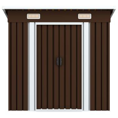 vidaXL Záhradná kôlňa, hnedá 194x121x181 cm, oceľ[2/8]