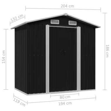 vidaXL Capanno Attrezzi da Giardino Antracite Acciaio 204x132x186 cm[8/8]