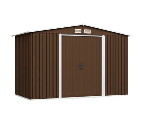 vidaXL Garden Storage Shed Brown 257x205x178 cm Steel