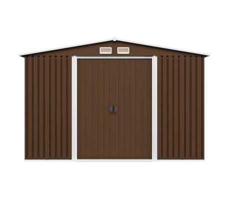 vidaXL Záhradná úložná kôlňa hnedá 257x205x178 cm oceľová[2/8]