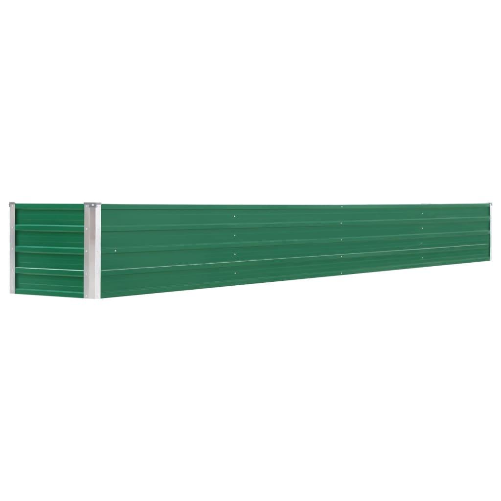 vidaXL Strat înălțat de grădină, verde, 320x40x45 cm, oțel galvanizat poza vidaxl.ro