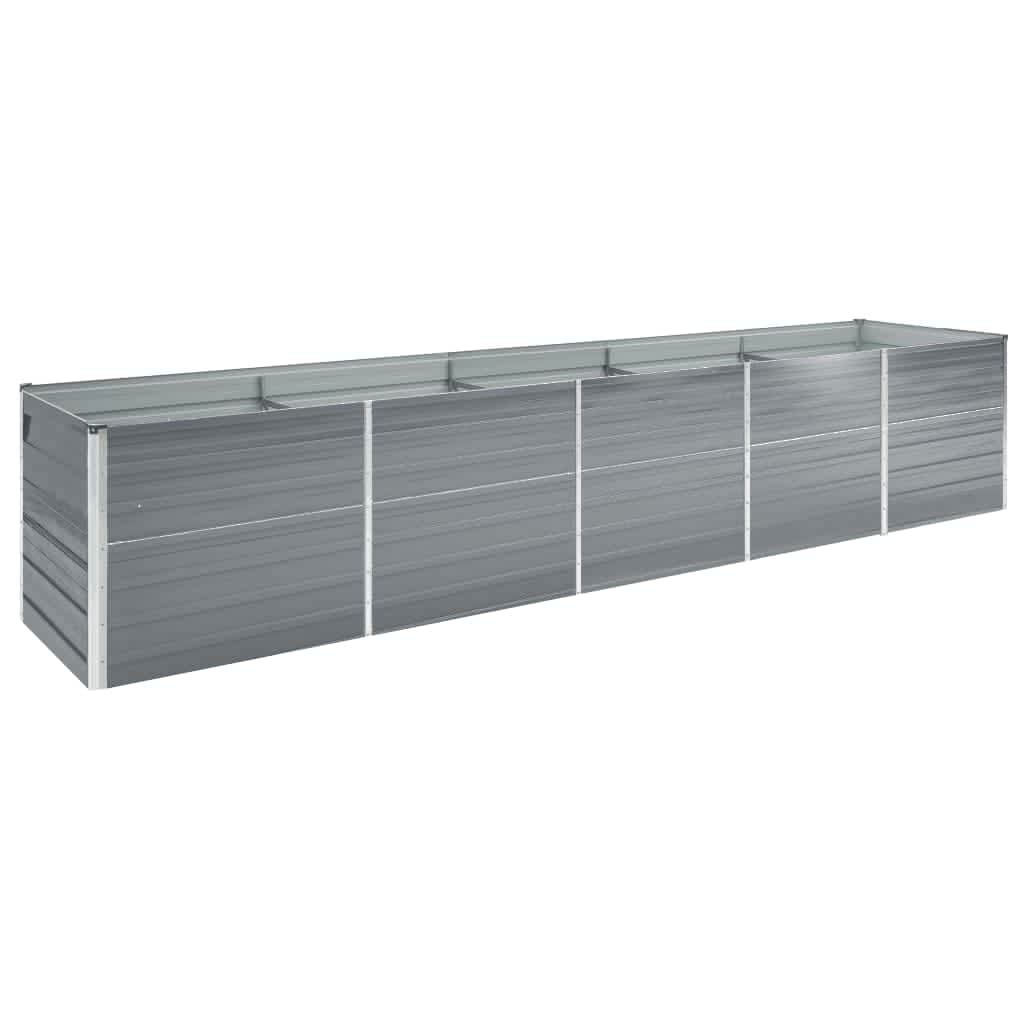 vidaXL Strat înălțat de grădină, gri, 400x80x45 cm, oțel galvanizat vidaxl.ro