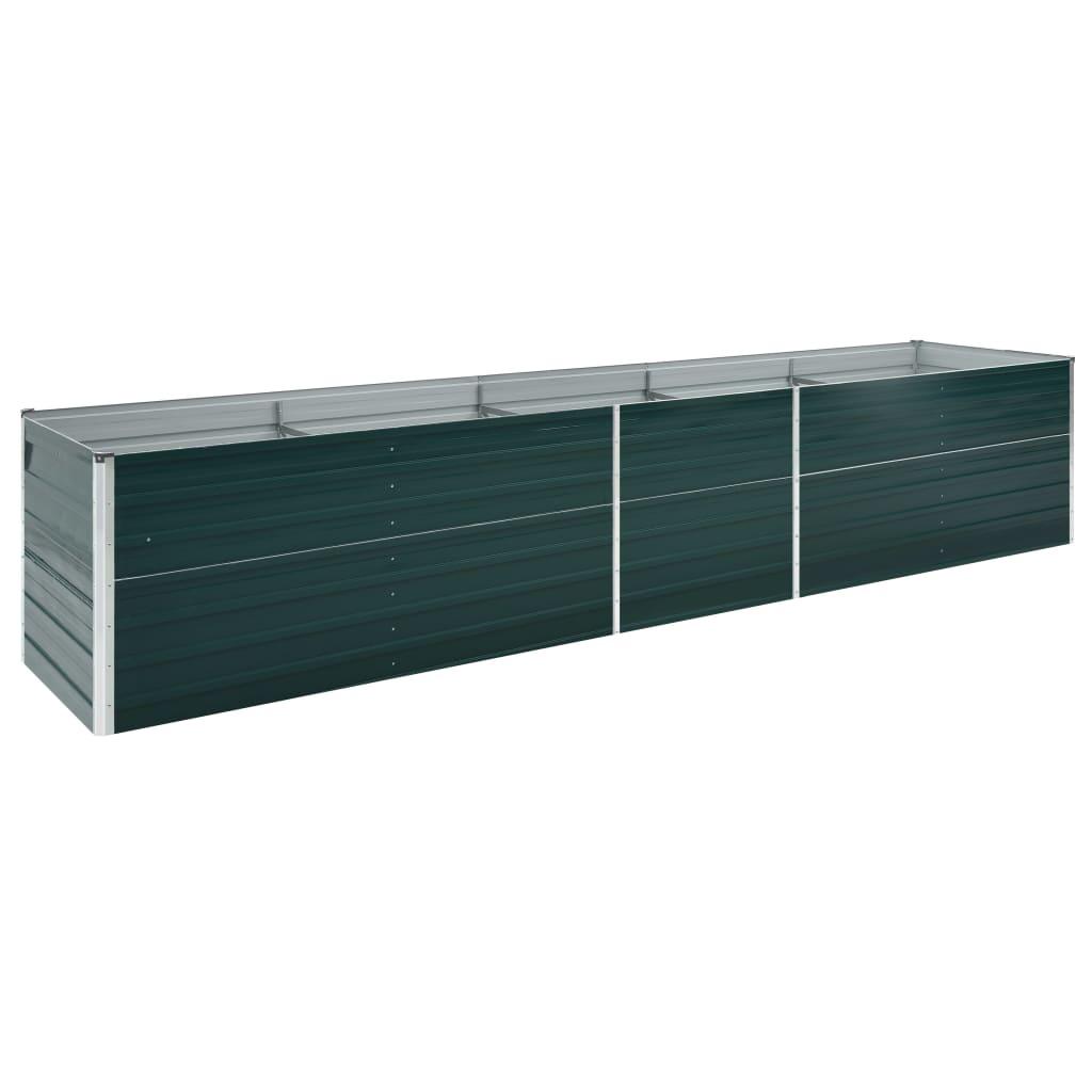 vidaXL Strat înălțat de grădină, verde, 400x80x45 cm, oțel galvanizat poza vidaxl.ro