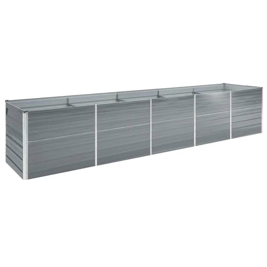 vidaXL Strat înălțat de grădină, gri, 400x80x77 cm, oțel galvanizat vidaxl.ro