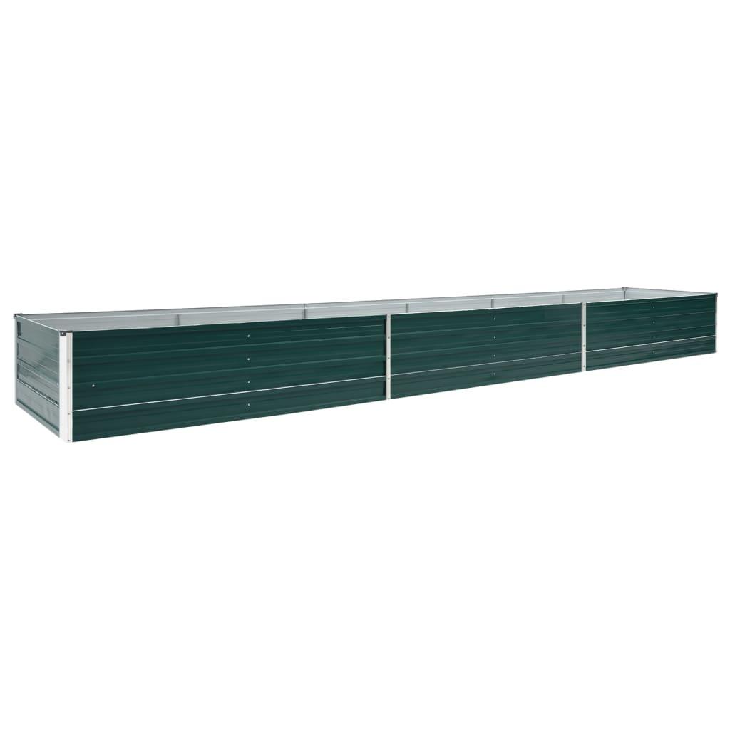 vidaXL Strat înălțat de grădină, verde, 480x80x45 cm, oțel galvanizat poza vidaxl.ro