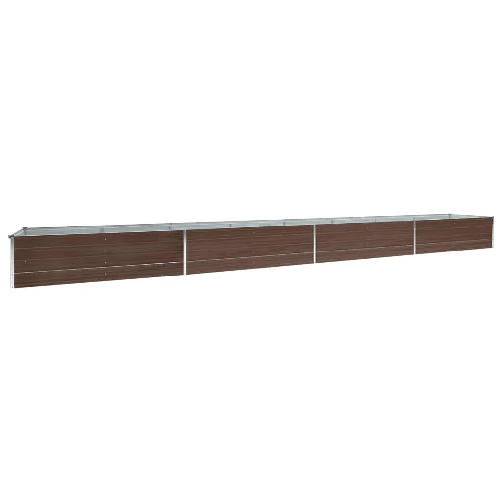 vidaXL Zahradní truhlík pozinkovaná ocel 600 x 80 x 45 cm hnědý