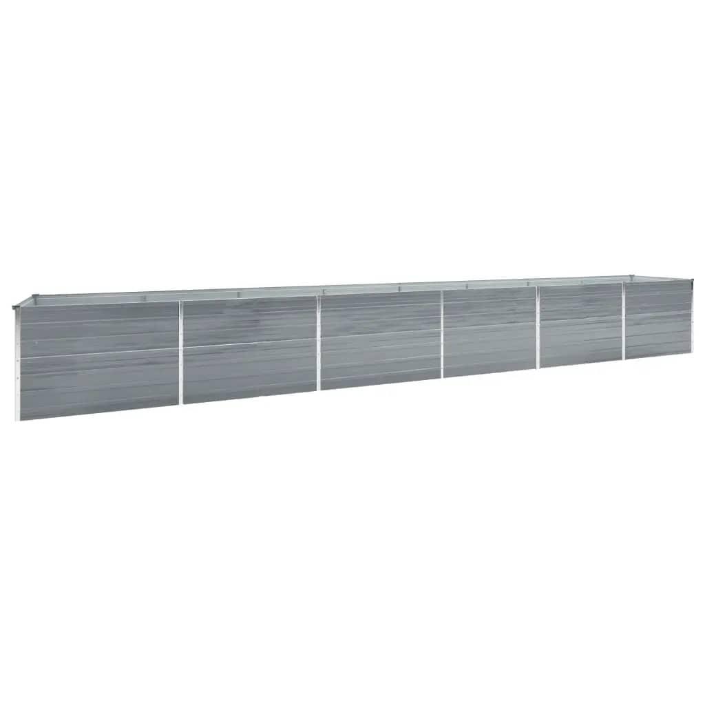 vidaXL Strat înălțat de grădină, gri, 600x80x77 cm, oțel galvanizat imagine vidaxl.ro